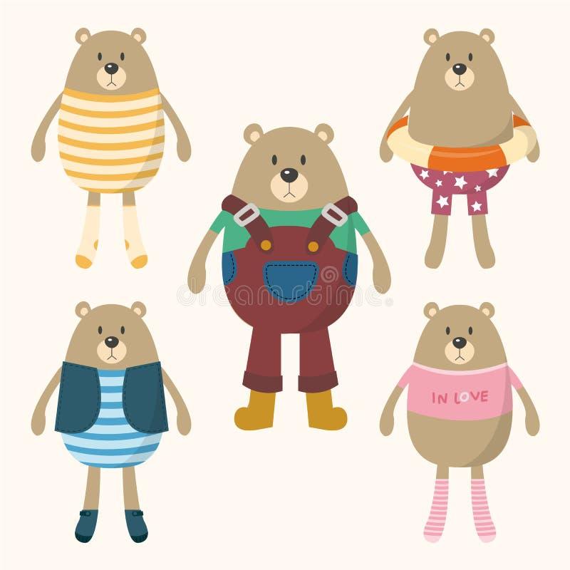 Den gulliga björnen klär upp royaltyfri illustrationer