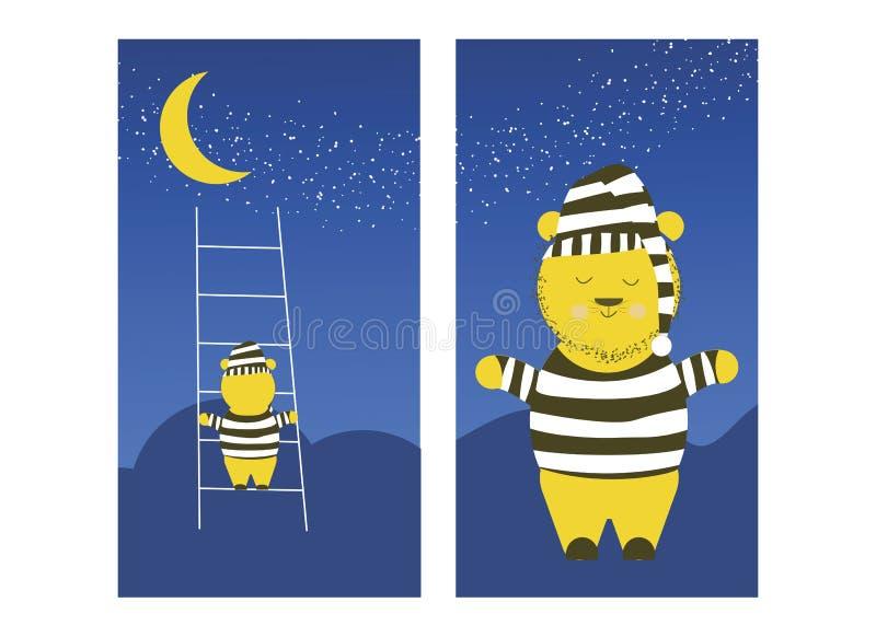 Den gulliga björnen klättrar månen Den sömniga björnen förbereder sig att klättra månen för att sova royaltyfri bild