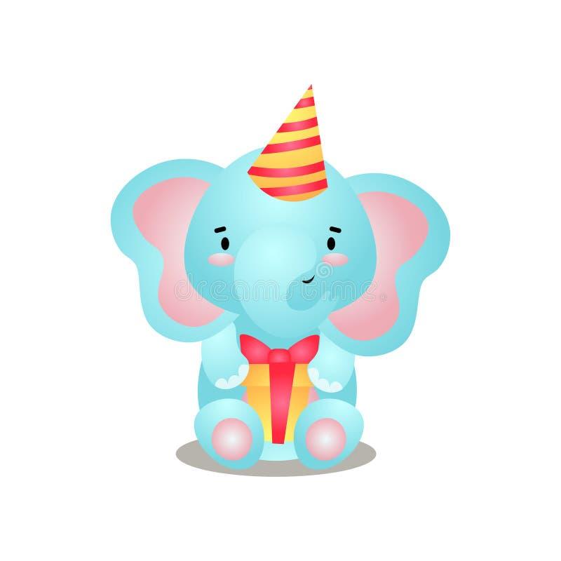 Den gulliga blåa elefanten är klar för födelsedag med gåvaasken royaltyfri illustrationer