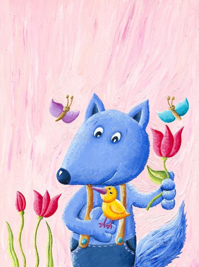 Den gulliga blåa räven rymmer fågeln och blomman stock illustrationer
