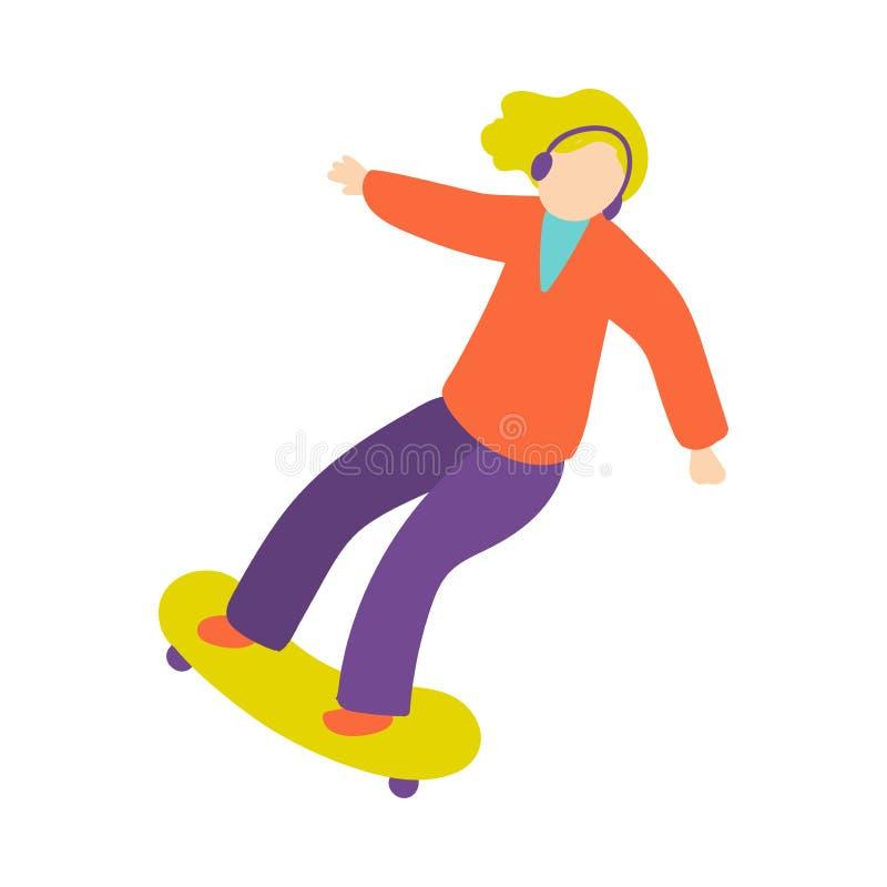 Den gulliga blonda flickan med hörlurar rusar ritt på skateboarden royaltyfri illustrationer