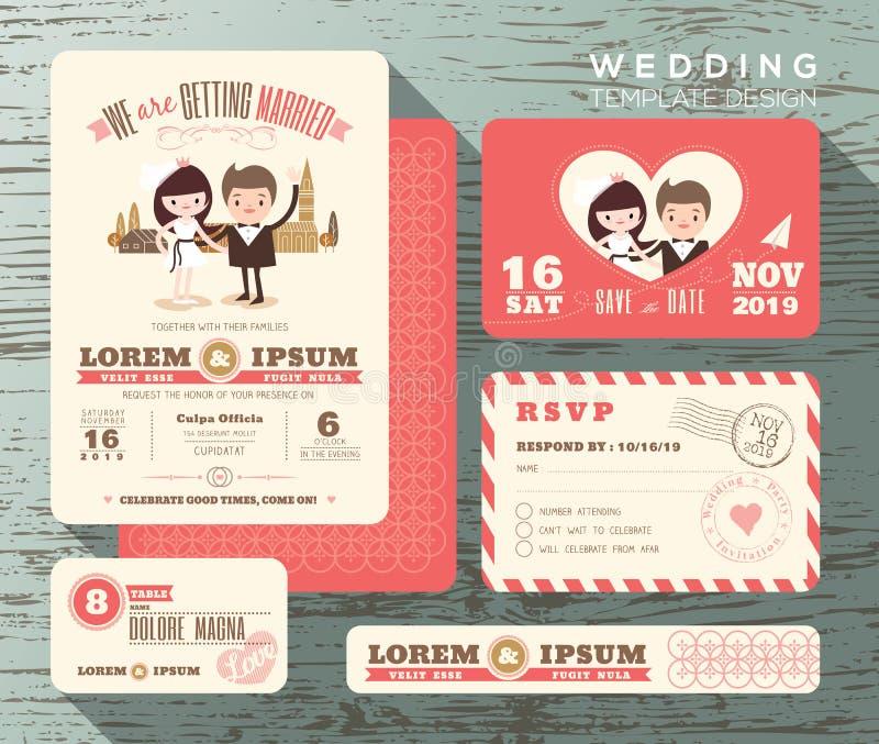 Den gulliga brudgummen och bruden kopplar ihop mallen för den fastställda designen för bröllopinbjudan royaltyfri illustrationer