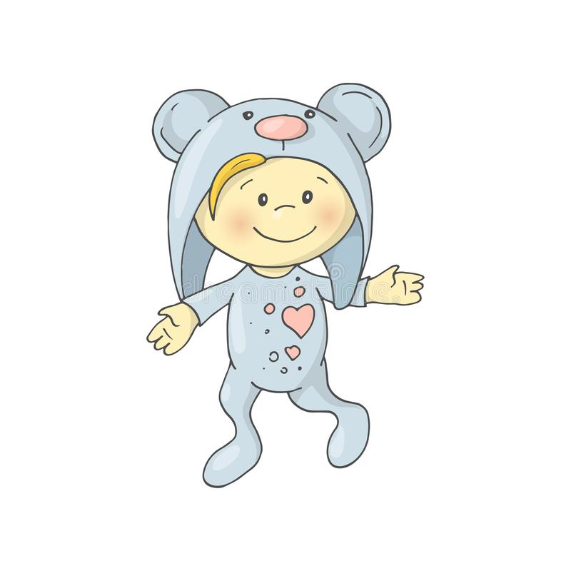 Den gulliga charmiga tecknad filmpojken i pyjamas kostymerar en björn stock illustrationer