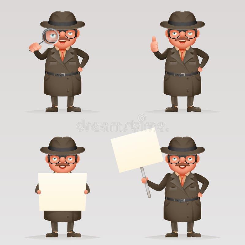 Den gulliga detektiv- maskot för teckenet för tecknade filmen för ögat 3d för förstoringsglaset för spionutredninglaget isolerade royaltyfri illustrationer