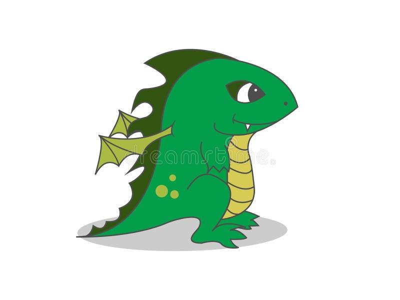 Den gulliga draken behandla som ett barn stock illustrationer