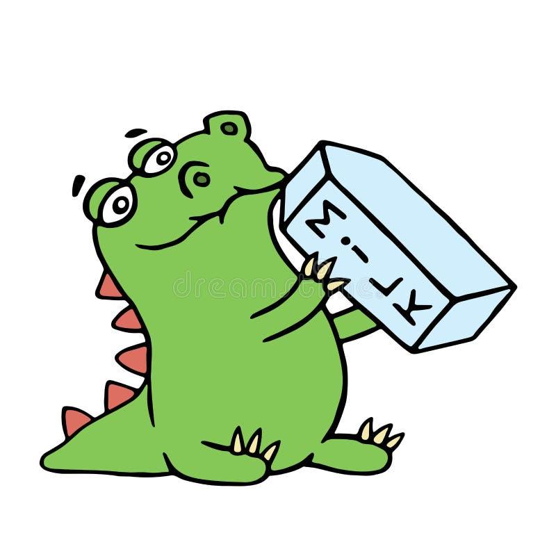 Den gulliga draken dricker mjölkar Isolerad vektorillustration vektor illustrationer