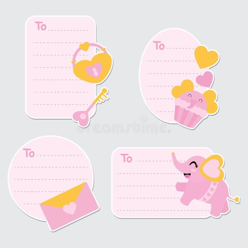 Den gulliga elefanten, muffin och illustrationen för hjärtahänglåstecknad film för valentingåvaetiketter planlägger vektor illustrationer