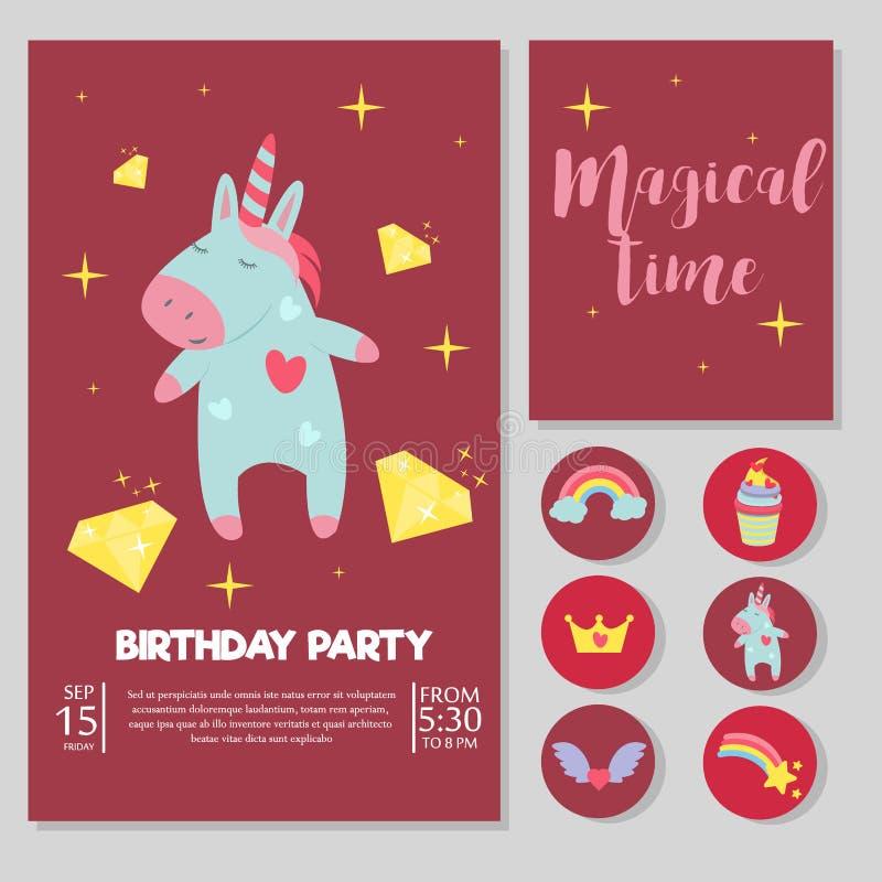 Den gulliga enhörningen behandla som ett barn konst för saga för magisk för regnbåge för illustration för vektor för kort för föd royaltyfri illustrationer