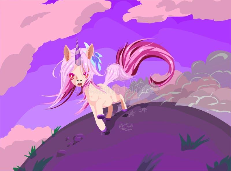Den gulliga enhörningen kör snabbt Illustration med den körande enhörningen royaltyfri illustrationer