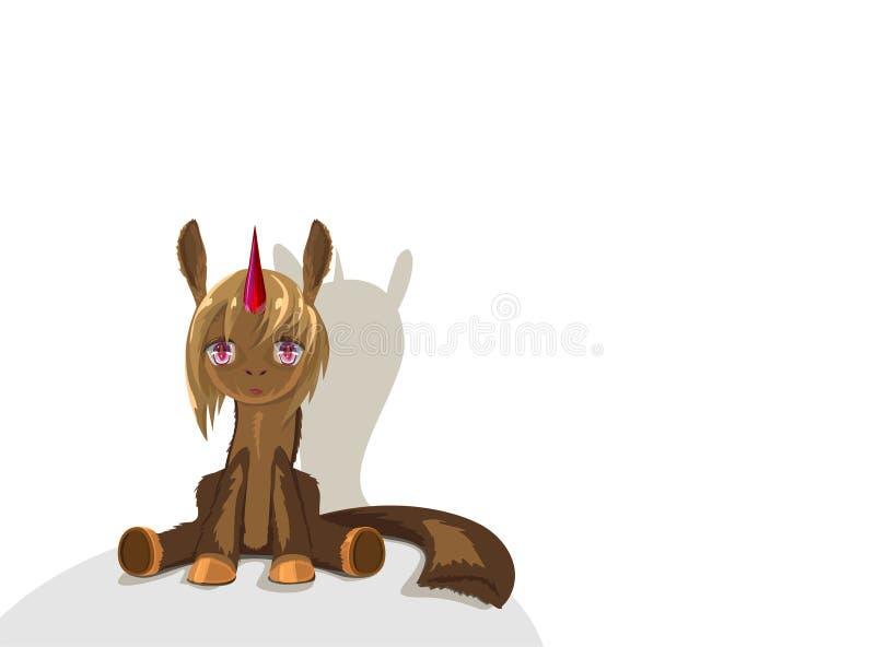 Den gulliga enhörningen sitter och ser in i dina ögon Illustration med att sitta den bruna enhörningen stock illustrationer