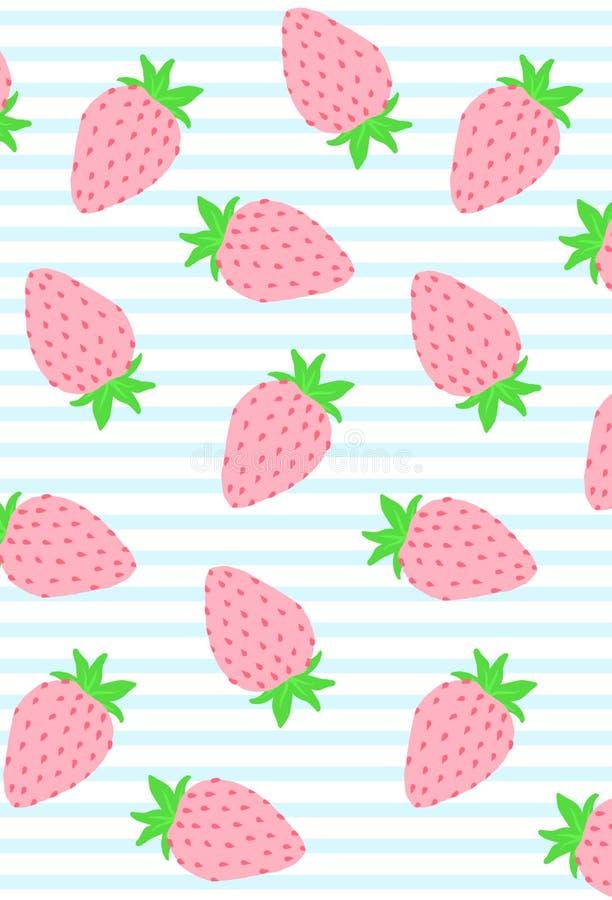 Den gulliga färgrika jordgubbeillustrationen på vit och blått gjorde randig bakgrund royaltyfri bild