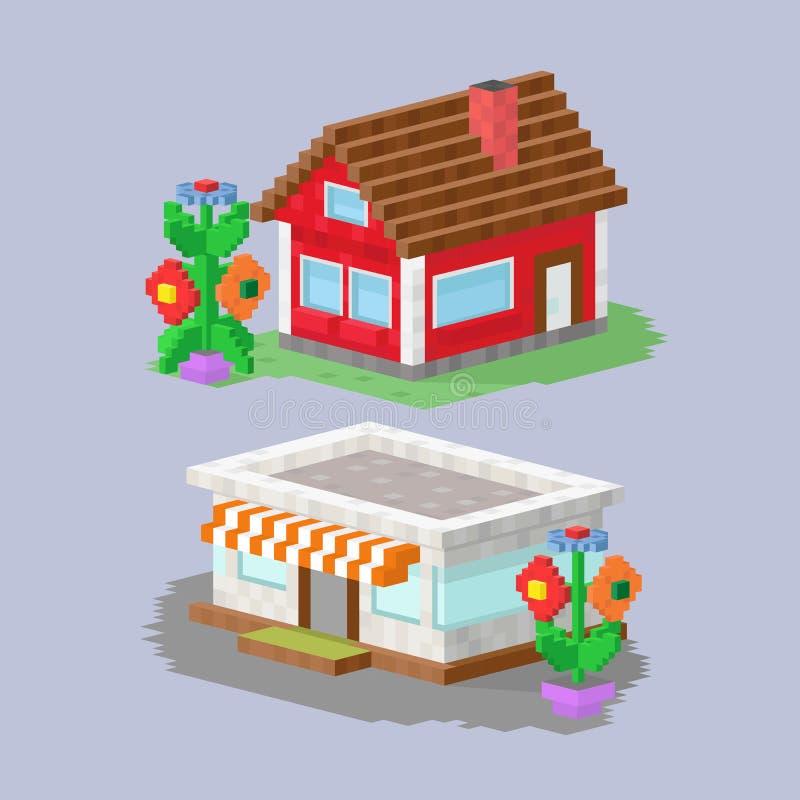 Den gulliga färgrika plana stugan och hemmet för fastighet för konst för PIXEL för stilhusby planlägger bostads- färgrik byggnad vektor illustrationer