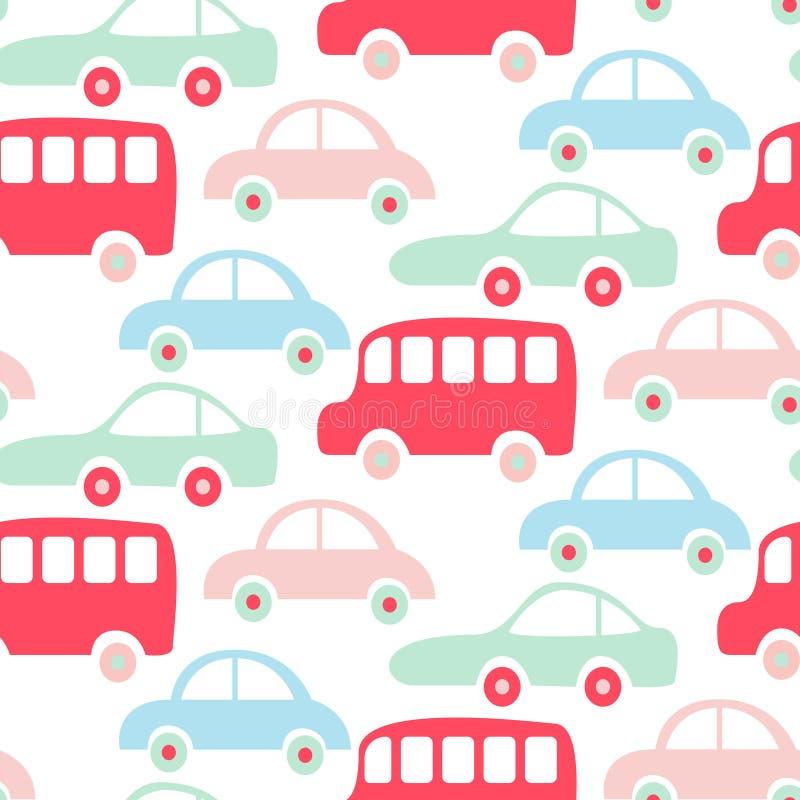 Den gulliga färgrika sömlösa modellen för bussar och för bilar tapetserar vektor illustrationer