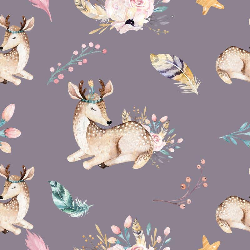 Den gulliga familjen behandla som ett barn raccon, hjortar och kaninen den djura barnkammaregiraffet och björnen isolerade illust vektor illustrationer