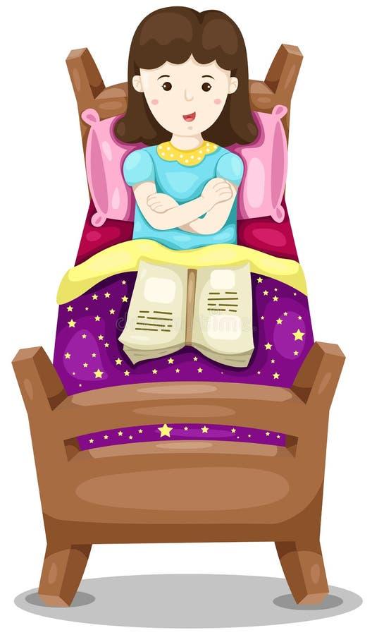 Den gulliga flickan lägger ner i säng med boken vektor illustrationer