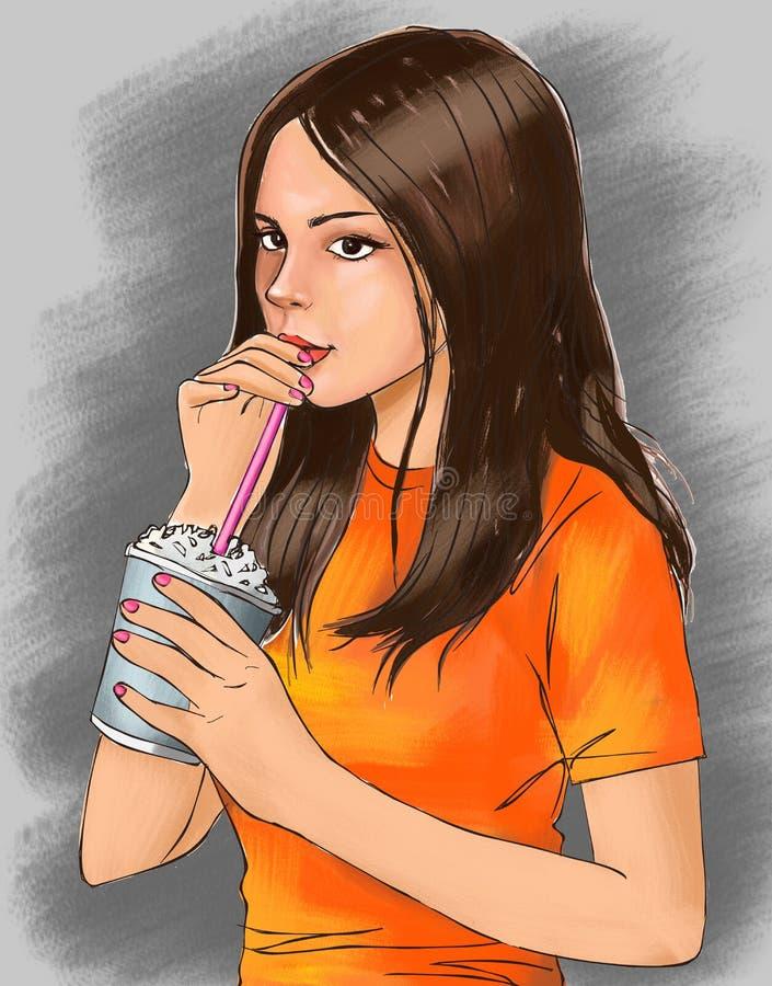 Den gulliga flickan och den kalla drinken, den gulliga flickan dricker drycken, flickan, den gulliga med is drinken, med is kaffe stock illustrationer