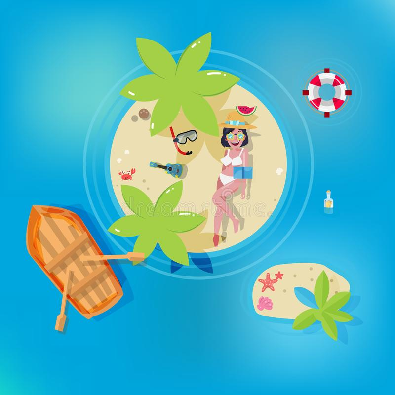 Den gulliga flickan som solbadar på den långväga ön, kopplar av begreppet - illustration stock illustrationer