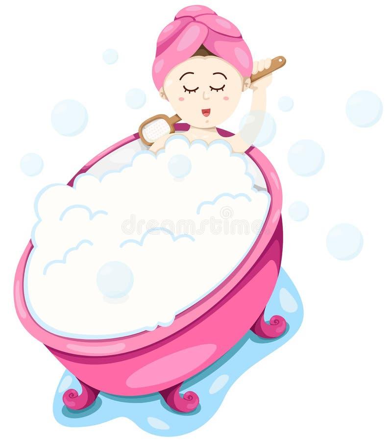 Den gulliga flickan tar en bubbelbad vektor illustrationer