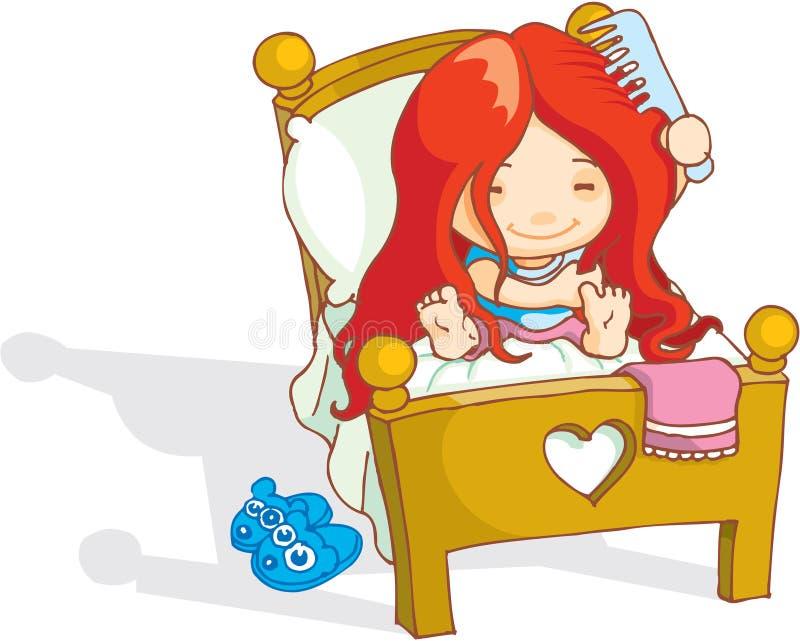 Den gulliga flickan vaknar upp royaltyfri illustrationer