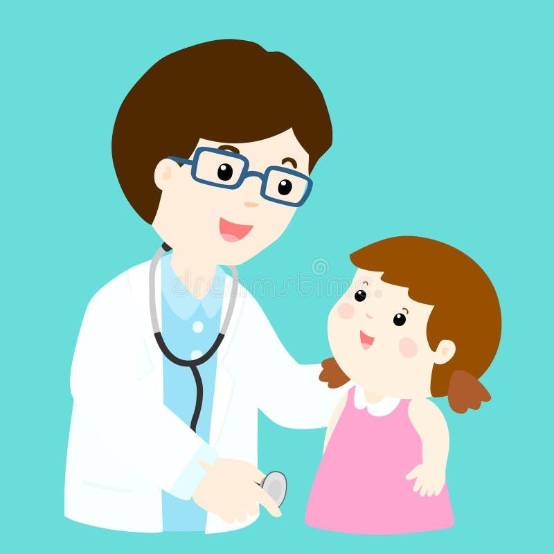 Den gulliga flickatecknade filmen ser doktorn vektor illustrationer