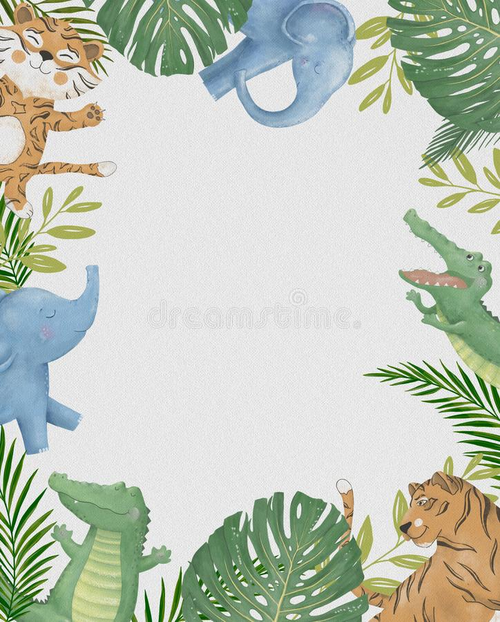 Den gulliga gränsen för djur för safarivattenfärgtecknade filmen med molnet format kopieringsutrymme för ungar festar inbjud royaltyfri illustrationer