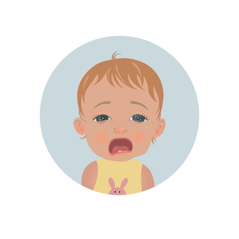 Den gulliga gråt behandla som ett barn emoticonen Tårfylld barnemoji Gråta ungesmileysymbolen stock illustrationer