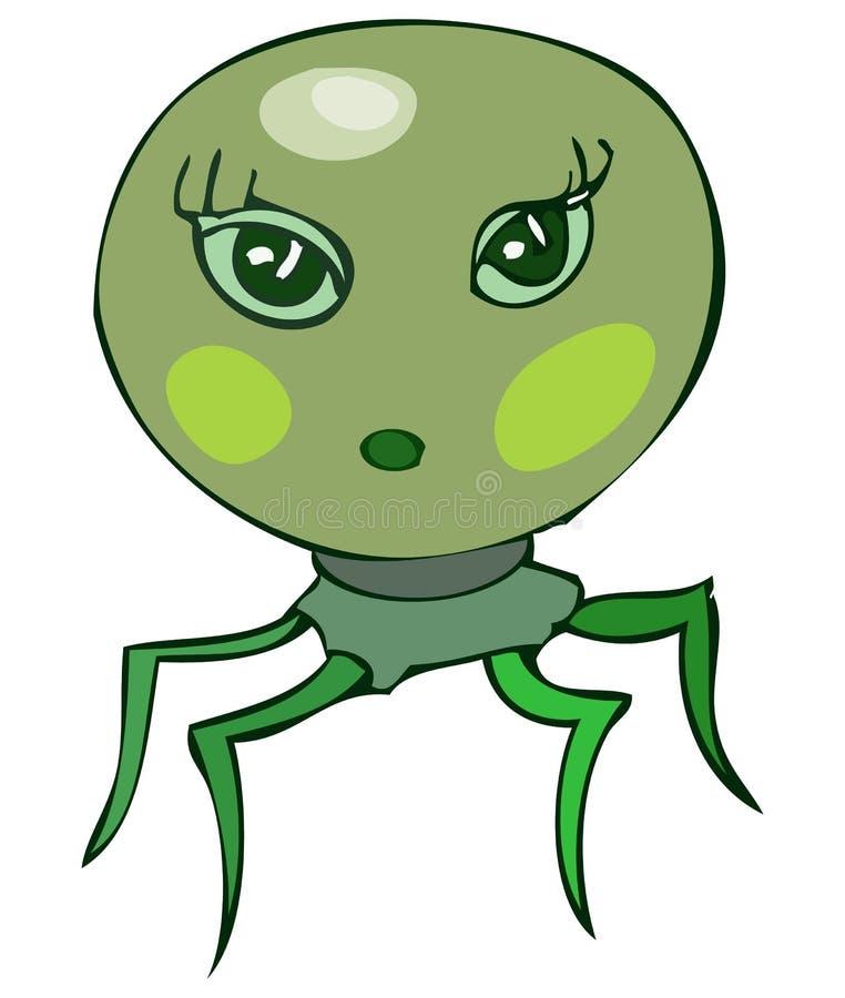 Den gulliga gröna spindeln gillar det kvinnliga främmande huvudet royaltyfri illustrationer