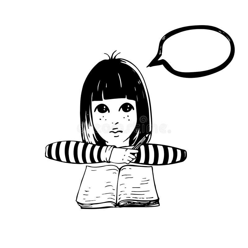Den gulliga grafiska flickan skriver, i hennes bok med blyertspennan och att tänka om något stock illustrationer