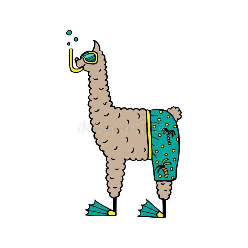 Den gulliga hand-drog illustrationen av en lama i stranden kortsluter stock illustrationer