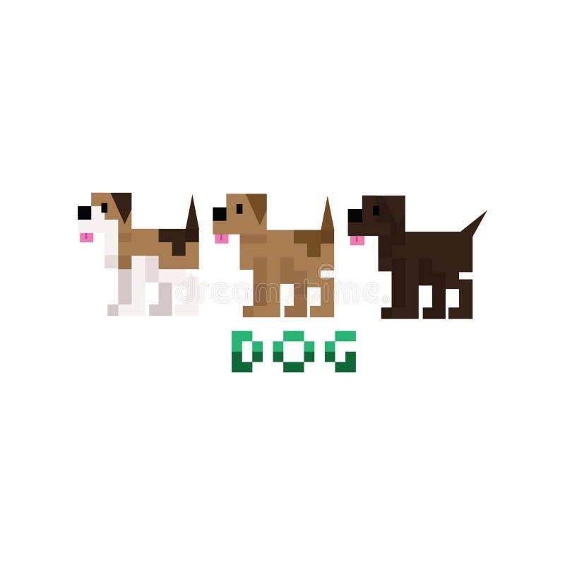 Den gulliga hunden för husdjuret 8bit föder upp vektorillustrationen Konst för PIXEL för spanielhusdjurvalp vektor illustrationer
