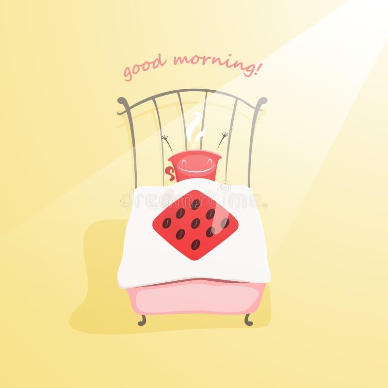 Den gulliga kaffekoppen vaknar upp och önskar dig bra morgon stock illustrationer