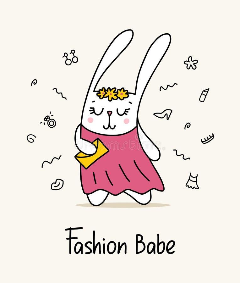 Den gulliga kaninmodebaben i rosa färger klär med den guld- färghandväskan Rolig illustration för djur för tecknad filmlägenhetve stock illustrationer