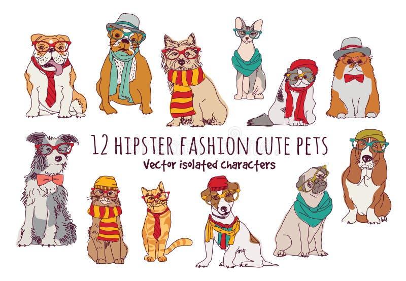 Den gulliga katt- och hundkapplöpningmodehipsteren isolerade husdjur stock illustrationer