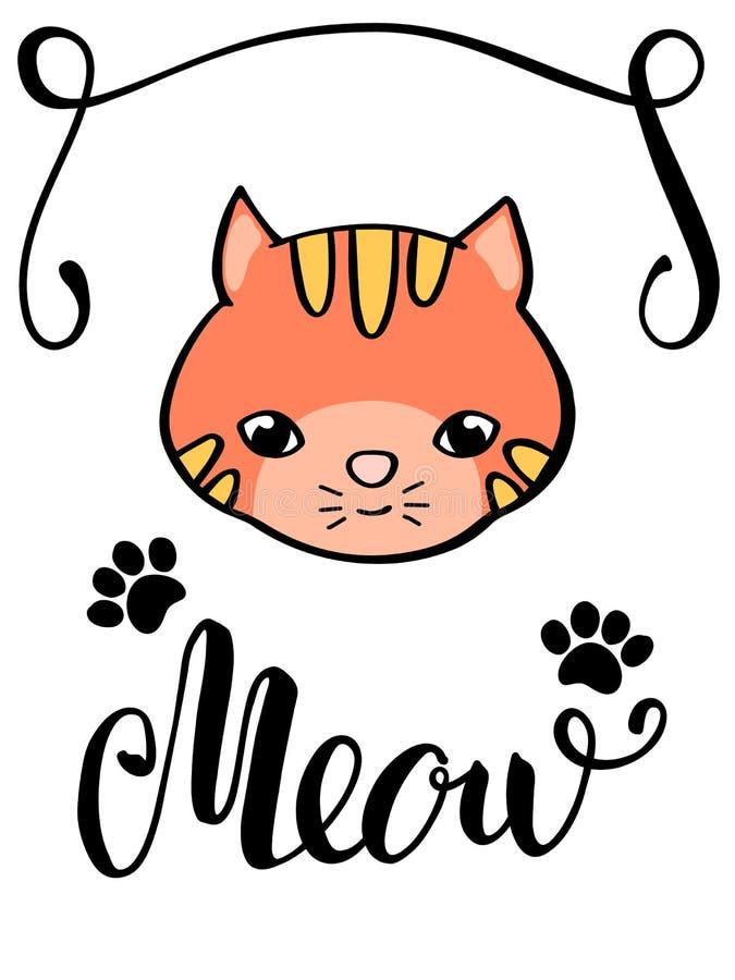 Den gulliga katten och jamar bokstäverinskriften Handdrawn kattvykort Den röda pottframsidan och tafsar fläckar royaltyfri illustrationer