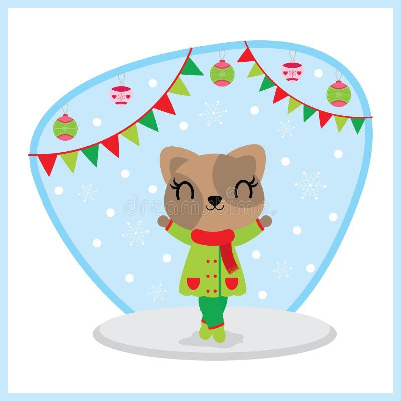 Den gulliga kattflickan tycker om snöfall bak färgrika buntings och smyckar tecknad filmillustrationen för julkortdesign royaltyfri illustrationer