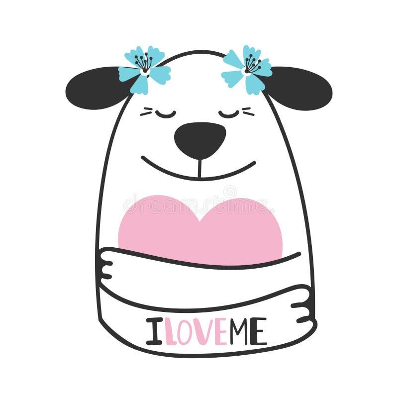 Den gulliga klotterhunden kramar hjärta stock illustrationer