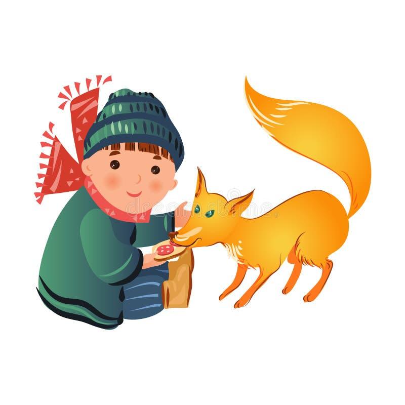 Den gulliga le pojken i vinterkläder ska ge mat för att lura vektor illustrationer