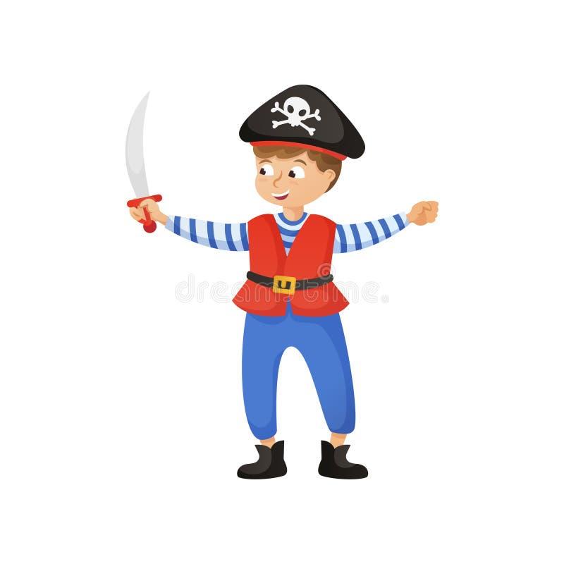 Den gulliga le pojken piratkopierar in dräkten med den svarta hatten royaltyfri illustrationer