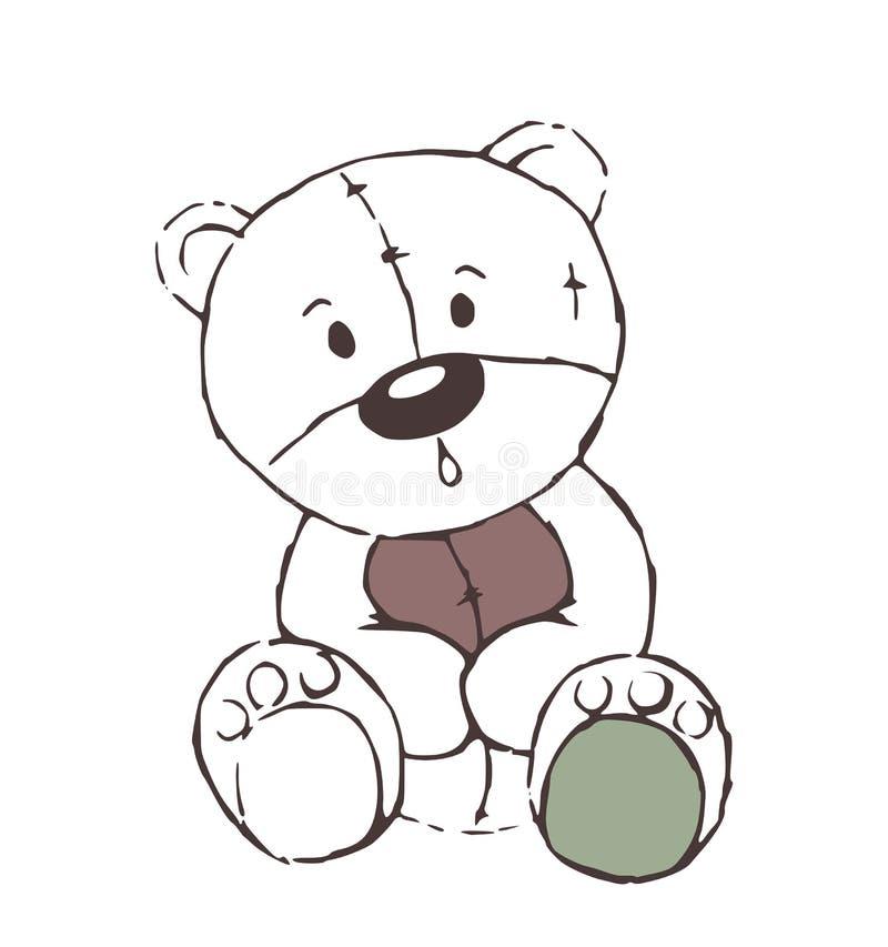 Den gulliga leksaken för nallebjörnen skissar - isolerat royaltyfri illustrationer