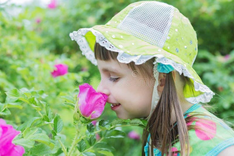 Den gulliga lilla flickan inhalerar aromen av blomman royaltyfria bilder