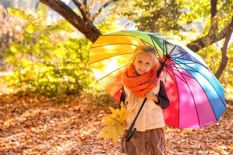 Den gulliga lilla flickan med det färgrika paraplyet i höst parkerar fotografering för bildbyråer