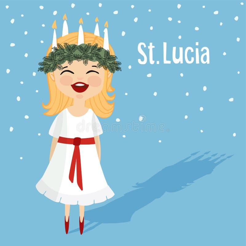 Den gulliga lilla flickan med kransen och stearinljuset krönar, St Lucia stock illustrationer