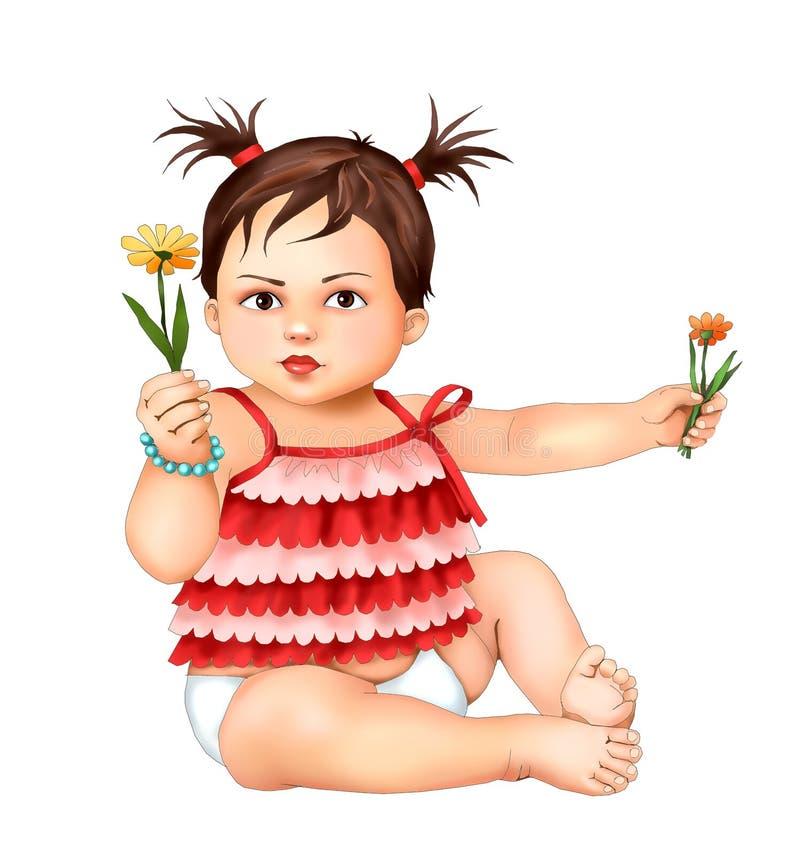Den gulliga lilla flickan och blommor, liten flickabarnet, pojken, hälsningkortet, vykort, behandla som ett barn barnet, illustra vektor illustrationer