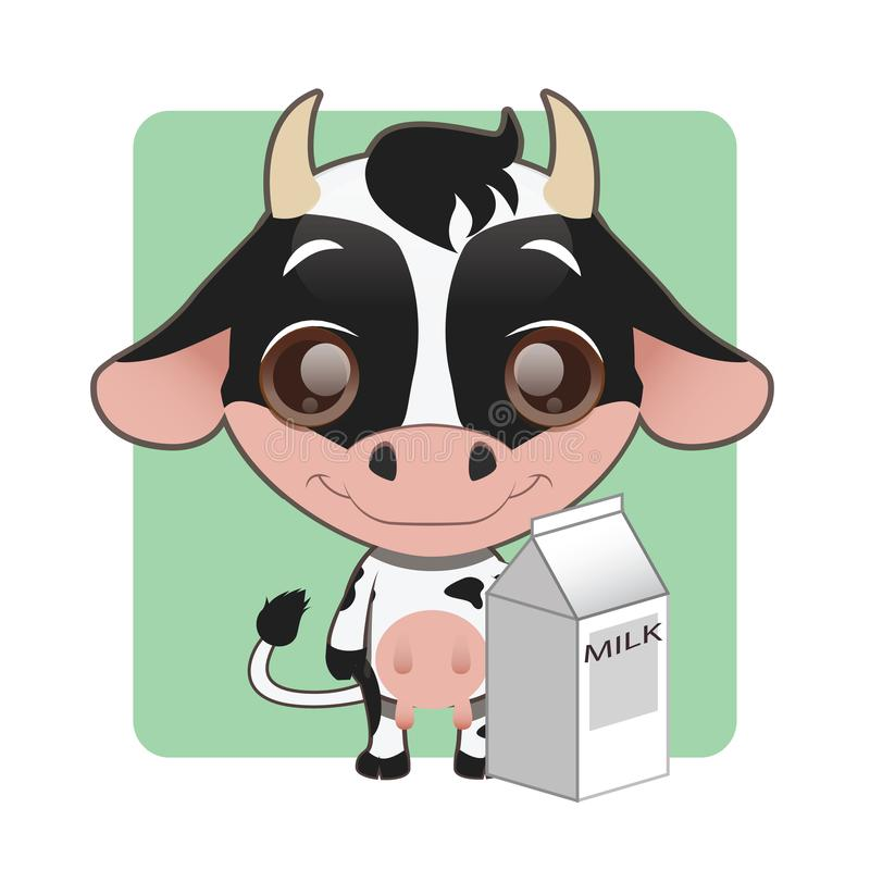 Den gulliga lilla kon som rymmer en låda av, mjölkar royaltyfri illustrationer