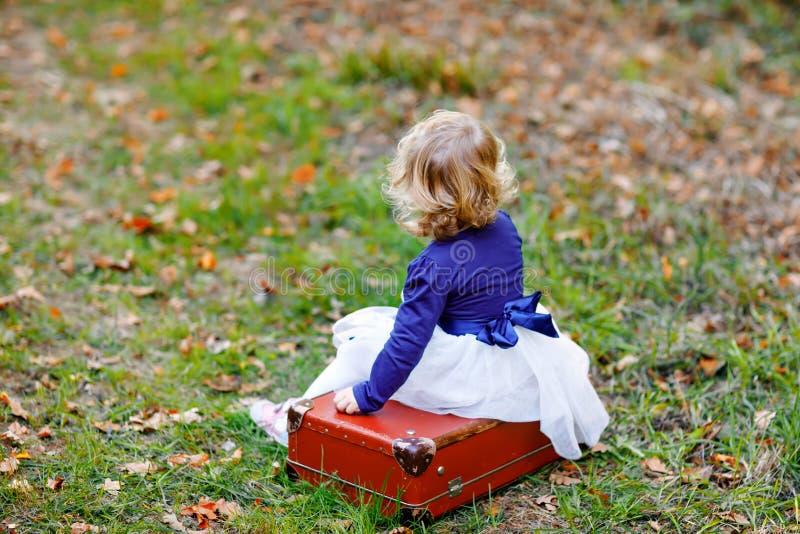 Den gulliga lilla litet barnflickan som sitter på resväskan i höst, parkerar Lyckligt sunt behandla som ett barn tycka om att gå  arkivbild