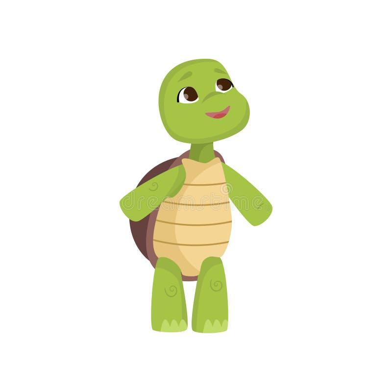 Den gulliga lilla sköldpaddan ser upp att stå på bakre ben som isoleras på vit bakgrund stock illustrationer