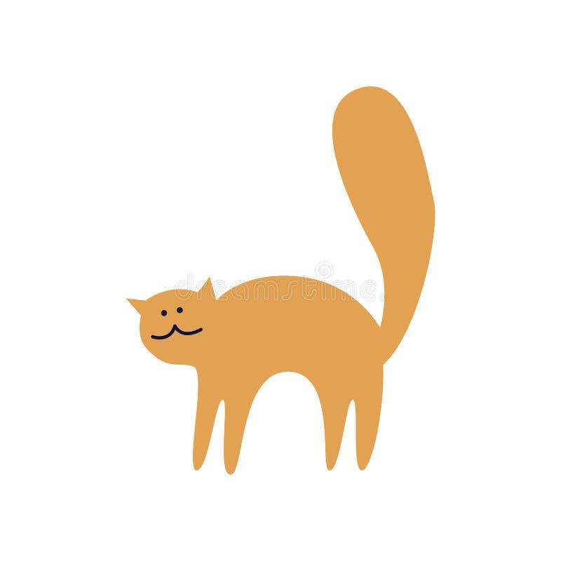 Den gulliga ljust rödbrun katten står välvd tillbaka plan tecknad filmstil royaltyfri illustrationer