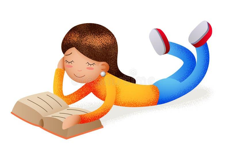 Den gulliga lyckliga flickan som ler läseboken som ligger på golvteckensymbol, läste symbolet isolerat begrepp för tecknad filmde royaltyfri illustrationer