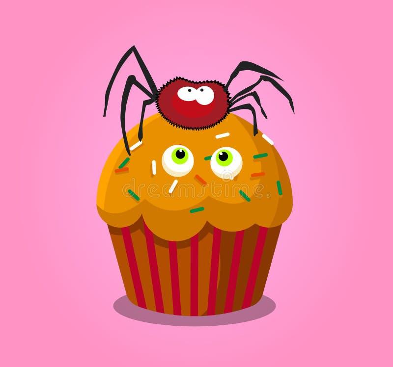 Den gulliga lyckliga halloween muffin med spindeln och monstret synar isolat royaltyfri illustrationer