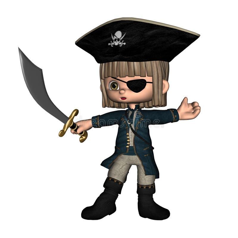 den gulliga manlign piratkopierar toon royaltyfri illustrationer